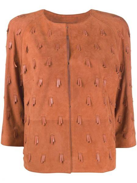 Оранжевый кожаный пиджак с бахромой Desa 1972