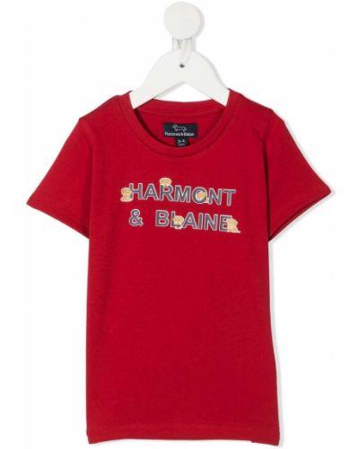 Прямая хлопковая красная футболка с короткими рукавами Harmont & Blaine Junior