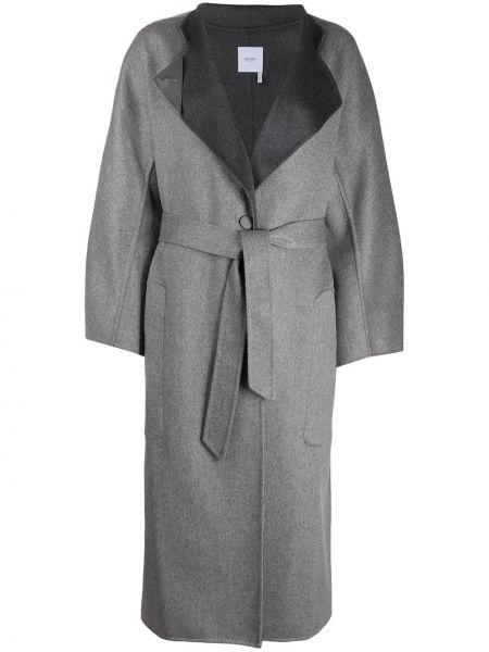 Кожаное прямое серое кожаное пальто с накладными карманами Agnona