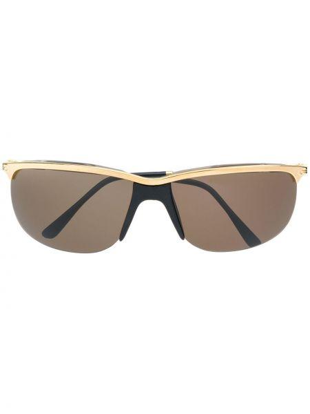 Прямые желтые солнцезащитные очки металлические Persol Pre-owned