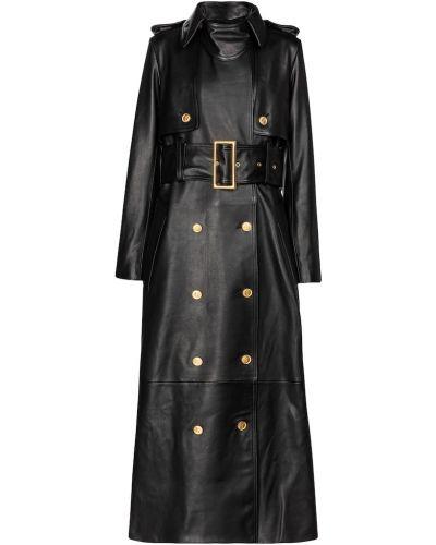 Черное кожаное пальто классическое Khaite