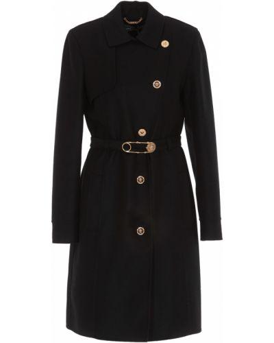 Czarny płaszcz wełniany Versace