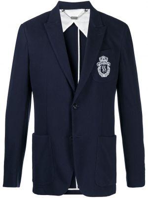 Прямой синий удлиненный пиджак с вышивкой Billionaire