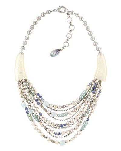 Ожерелье с жемчугом - голубое Nature Bijoux