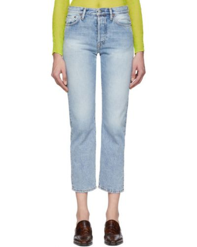 Prosto niebieski jeansy na wysokości z kieszeniami z łatami Acne Studios