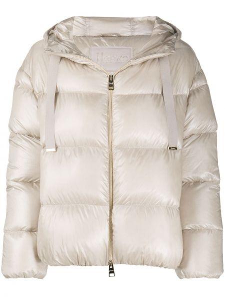 Бежевая стеганая пуховая длинная куртка Herno