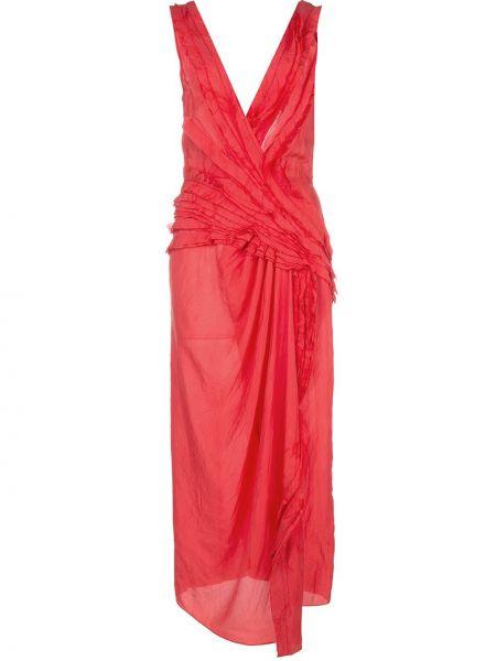 Асимметричное приталенное платье миди с драпировкой без рукавов Jason Wu Collection