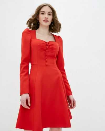 Прямое красное платье Pink Summer