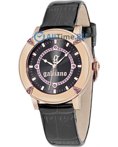 Часы на кожаном ремешке кварцевые с камнями Galliano