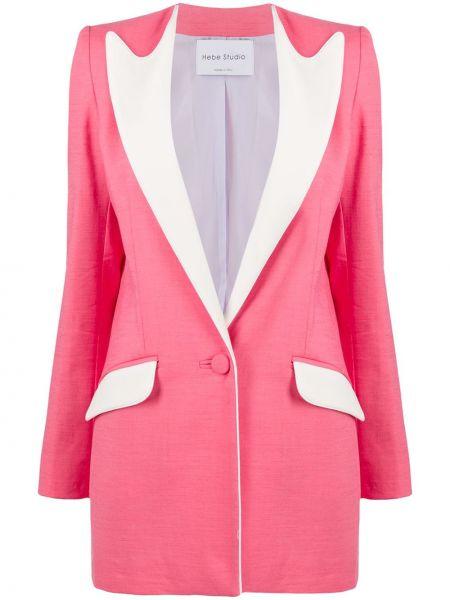 Льняной розовый приталенный классический пиджак с карманами Hebe Studio