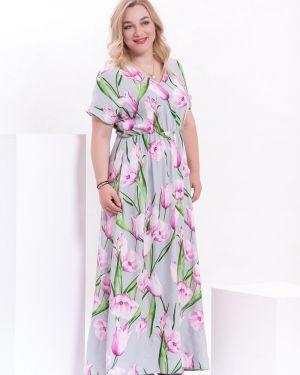 Платье макси из штапеля с V-образным вырезом Modellos