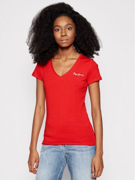 Czerwony koszula jeansowa Pepe Jeans
