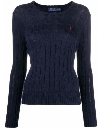 Niebieski z rękawami koszulka polo z haftem Polo Ralph Lauren