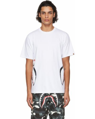 Белая футболка с воротником Bape