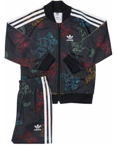 Черный спортивный костюм в полоску Adidas Originals