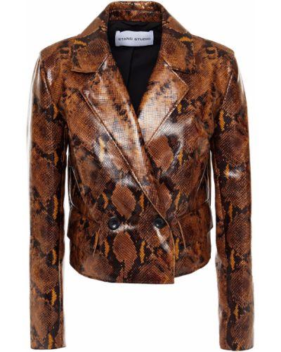 Кожаный пиджак двубортный с подкладкой Stand Studio