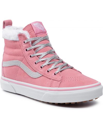 Buty sportowe skorzane - różowe Vans