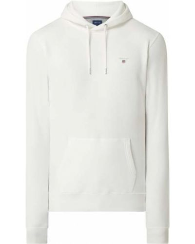 Biała bluza kangurka z kapturem bawełniana Gant