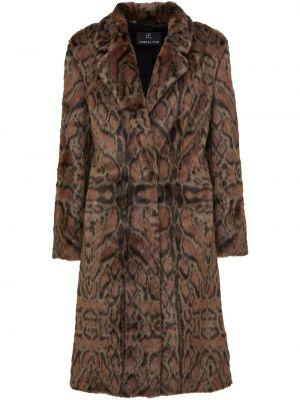 Коричневое пальто для полных из искусственного меха Unreal Fur