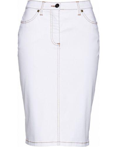 Джинсовая юбка на пуговицах белая Bonprix