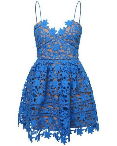 Платье с подкладкой - синее Self-portrait