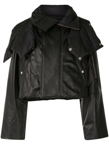 Стеганый черный кожаный пуховик Rick Owens