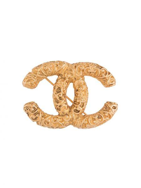 Broszka złoto pozłacany z ozdobnym wykończeniem Chanel Pre-owned