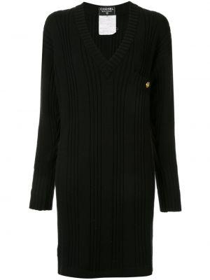Платье винтажное в рубчик на молнии с длинными рукавами Chanel Pre-owned