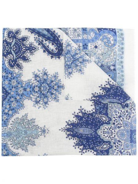 Niebieski szalik z jedwabiu z printem Lady Anne