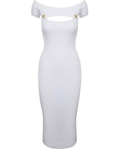 Biała sukienka midi elegancka Balmain