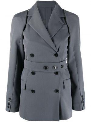 Шерстяной серый удлиненный пиджак двубортный Rokh