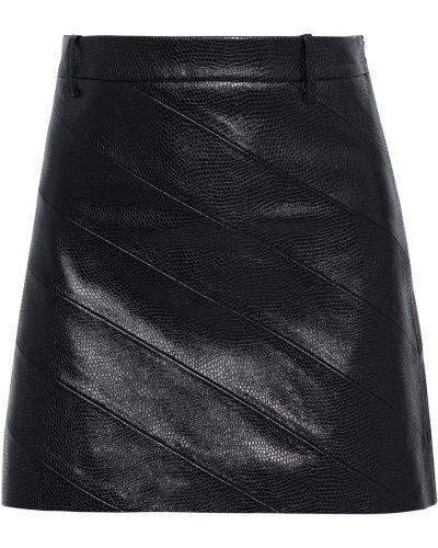 Черная кожаная юбка мини с поясом Nili Lotan