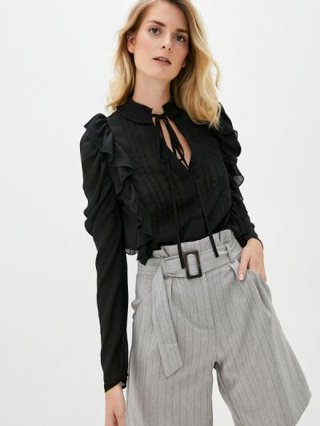 Черная блузка с оборками B.style