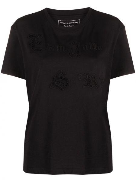 Прямая черная футболка с вышивкой Ermanno Scervino