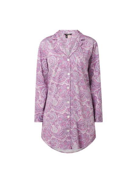Koszula nocna bawełniana - fioletowa Lauren Ralph Lauren