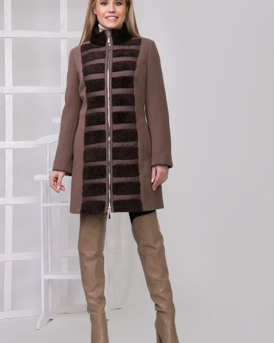 Пальто с мехом свободного кроя Sergio Cotti
