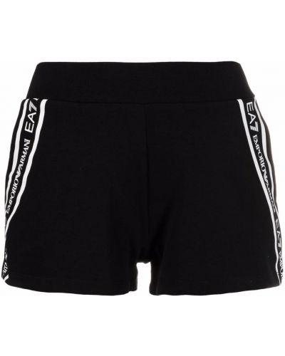 Хлопковые черные шорты с карманами с нашивками Ea7 Emporio Armani