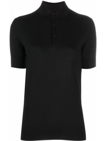 Вязаная черная кашемировая рубашка с коротким рукавом с воротником Ralph Lauren