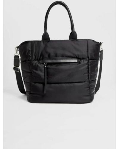 Черная текстильная сумка шоппер на молнии Stradivarius