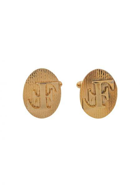 Желтые золотистые запонки металлические Gianfranco Ferre Pre-owned