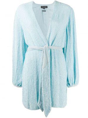 Niebieski długo sukienka z długimi rękawami z dekoltem w szpic Retrofete