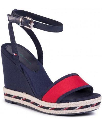 Sport sandały skorzane na koturnie Tommy Hilfiger