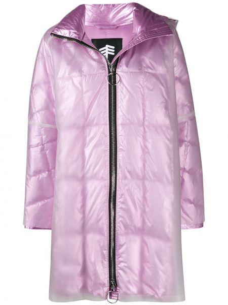 Свободное розовое пальто с капюшоном свободного кроя на молнии Ienki Ienki