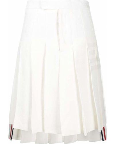 Белая плиссированная юбка в полоску Thom Browne