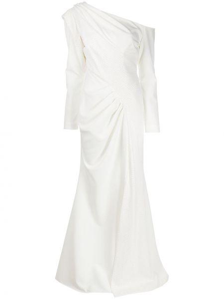 С рукавами белое платье на одно плечо с оборками Avaro Figlio
