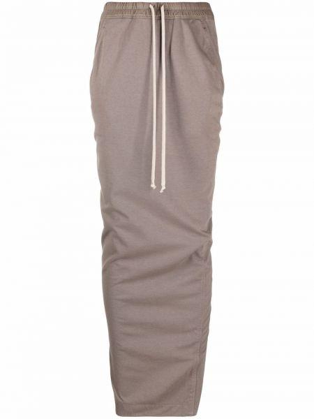 Хлопковая юбка макси - серая Rick Owens Drkshdw