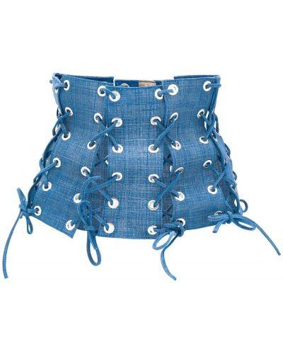 Синий кожаный корсет с поясом Manokhi