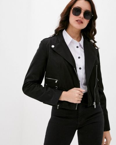 Кожаная куртка - черная Guess Jeans
