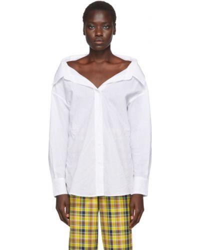 Biały bawełna bawełna z rękawami koszula Simon Miller
