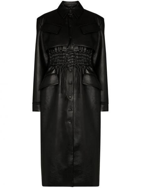 Черное прямое кожаное пальто с воротником с карманами Matériel